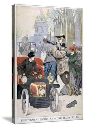 Kidnapping of a Young Woman in Paris, 1902--Stretched Canvas Print