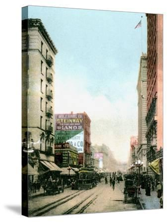 Spring Street, Los Angeles, California, USA, C1900s--Stretched Canvas Print