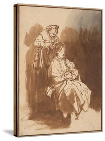 A Young Woman Having Her Hair Braided, Ca 1637-Rembrandt van Rijn-Stretched Canvas Print