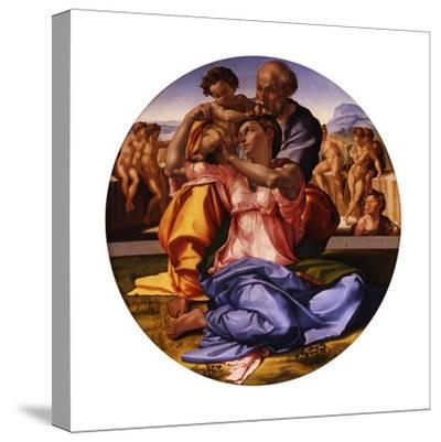 The Holy Family (The Doni Tond)-Michelangelo Buonarroti-Stretched Canvas Print