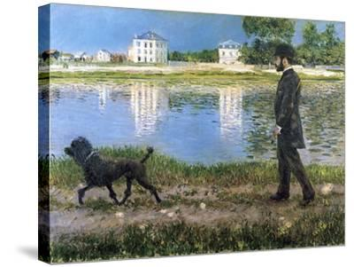 Richard Gallo and His Dog at Petit Gennevilliers, C. 1883-1884-Gustave Caillebotte-Stretched Canvas Print