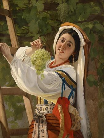 A Laughing Girl in South Italian Dress, 1857-Yevgraf Semyonovich Sorokin-Stretched Canvas Print