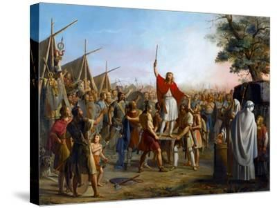 Pharamond, Raised on a Shield by the Franks-Michel Philibert Genod-Stretched Canvas Print