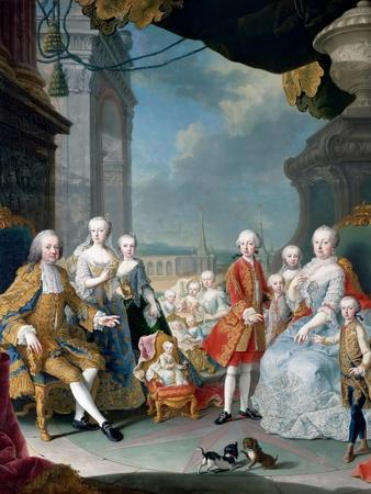 Maria Theresia of Austria and Francis I with their Children-Martin Van Meytens, the Younger-Stretched Canvas Print