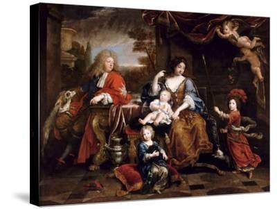 Louis of France, Grand Dauphin (1661-171), with His Family-Pierre Mignard-Stretched Canvas Print