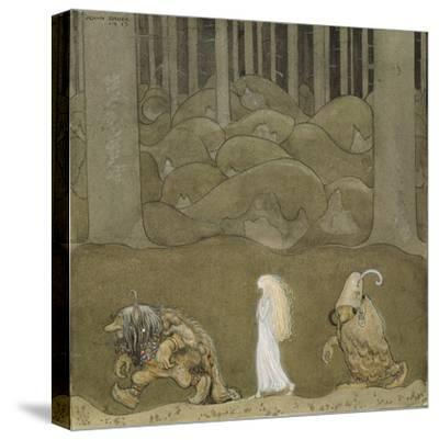 The Princess and the Trolls-John Bauer-Stretched Canvas Print