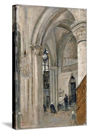 Interior of the Church at Mantes-Jean-Baptiste-Camille Corot-Stretched Canvas Print