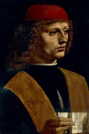 Portrait of a Musician-Leonardo da Vinci-Stretched Canvas Print