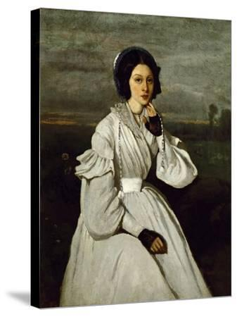 Portrait of Claire Sennegon-Jean-Baptiste-Camille Corot-Stretched Canvas Print