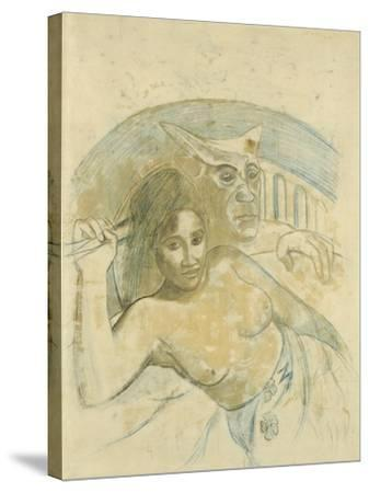 Tahitian Woman with Evil Spirit-Paul Gauguin-Stretched Canvas Print