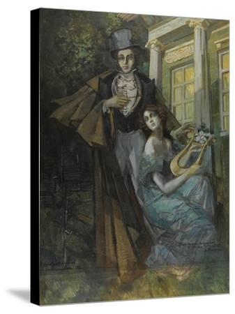 Pushkin and the Muse-Konstantin Alexeyevich Korovin-Stretched Canvas Print