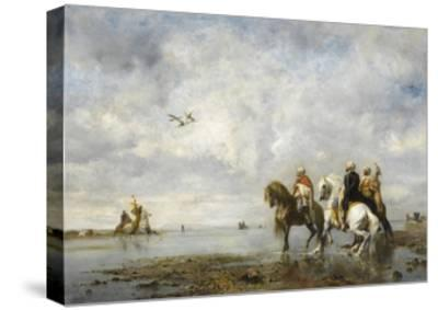 The Heron Hunt-Eugène Fromentin-Stretched Canvas Print