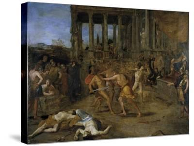 Gladiator Fights-Giovanni Lanfranco-Stretched Canvas Print