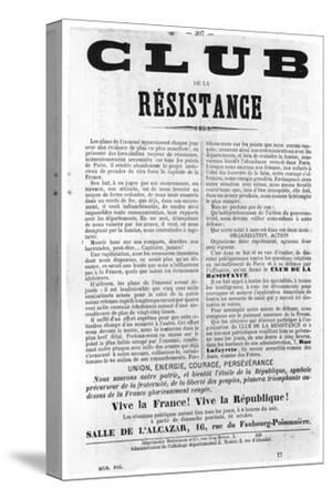 Club De La Resistance, from French Political Posters of the Paris Commune, May 1871--Stretched Canvas Print