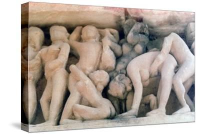 Erotic Sculpture, Khajuraho, India, C950-1050--Stretched Canvas Print