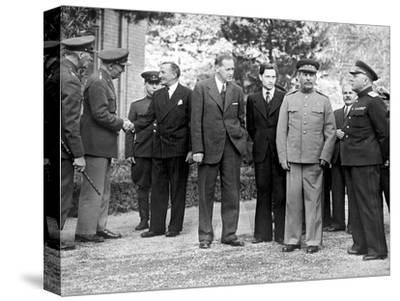 Stalin and Voroshilov at the Tehran Conference 1943--Stretched Canvas Print