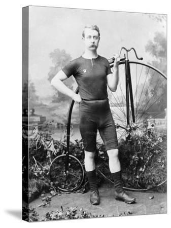 Ralph Clifton with a Penny Farthing, C1895--Stretched Canvas Print