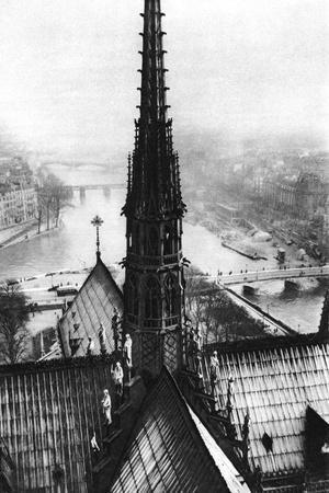 The Spire of Notre Dame Seen from the Towers, Paris, 1931-Ernest Flammarion-Stretched Canvas Print