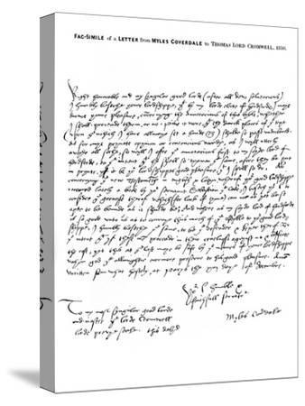 A Letter from Miles Coverdale, Bishop of Exeter, to Thomas Lord Cromwell, 1538-Miles Coverdale-Stretched Canvas Print