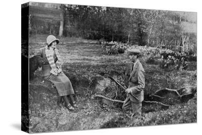 Lady Elizabeth Bowes-Lyon and the Duke of York at Her Hertfordshire Home Near Welwyn, 1923--Stretched Canvas Print