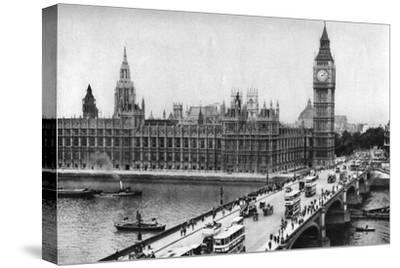 The Houses of Parliament and Westminster Bridge, London, 1926-1927--Stretched Canvas Print