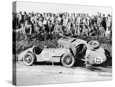 Two Crashed Cars from the Singer Nine Team, Possibly at a Ttrace, 1935--Stretched Canvas Print