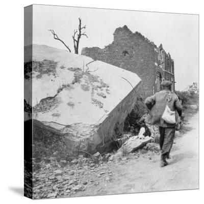 Blockhouse Destroyed by a Mine, Lomme, Near Armentières, France, World War I, C1914-C1918- Nightingale & Co-Stretched Canvas Print