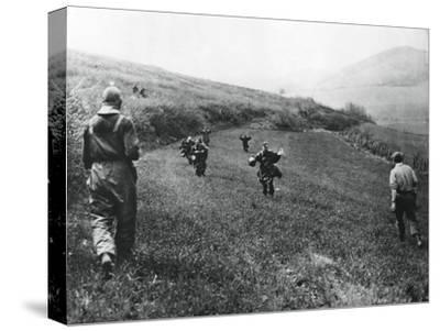 German Troops Surrendering to Soldiers of the American 1st Army, Near Elsborn, Germany, April 1945--Stretched Canvas Print
