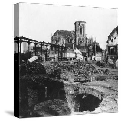 Damaged Exterior of the Church of St Vaast, Armentières, France, World War I, C1914-C1918- Nightingale & Co-Stretched Canvas Print