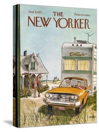 The New Yorker Cover - June 9, 1973-Charles Saxon-Stretched Canvas Print