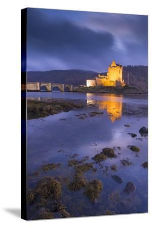 Eilean Donan Castle on Loch Duich at Twilight, Western Highlands, Scotland. Autumn (November)-Adam Burton-Stretched Canvas Print