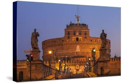 Italy, Lazio, Rome, View of St. Angelo Bridge and Castle St. Angelo (Hadrian's Mausoleum)-Jane Sweeney-Stretched Canvas Print