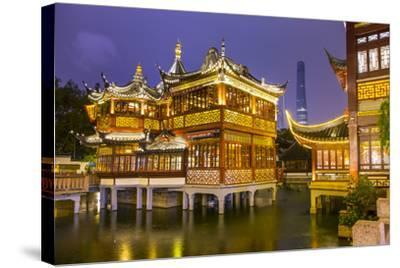 Tea House at the Yuyuan Gardens and Bazaar with the Shanghai Tower Behind, Old Town, Shanghai-Jon Arnold-Stretched Canvas Print