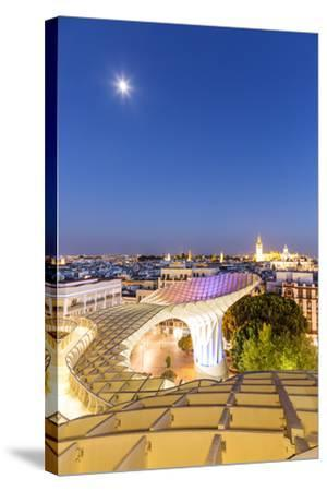 Spain, Andalusia, Seville. Metropol Parasol Structure and City at Dusk-Matteo Colombo-Stretched Canvas Print