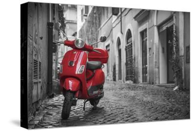Italy, Lazio, Rome, Trastevere, Red Vespa-Jane Sweeney-Stretched Canvas Print