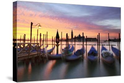Italy, Venice. Gondolas Moored on Riva Degli Schiavoni at Sunrise-Matteo Colombo-Stretched Canvas Print