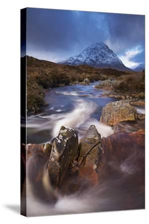 Highland Stream Running Through Rannoch Moor Towards Buachaille Etive Mor Mountain, Scotland-Adam Burton-Stretched Canvas Print