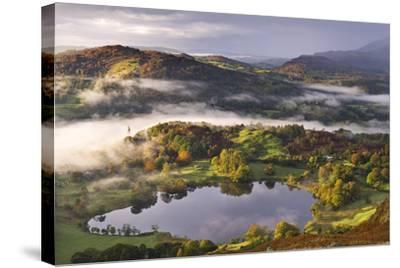 Loughrigg Tarn Surrounded by Misty Autumnal Countryside, Lake District, Cumbria-Adam Burton-Stretched Canvas Print