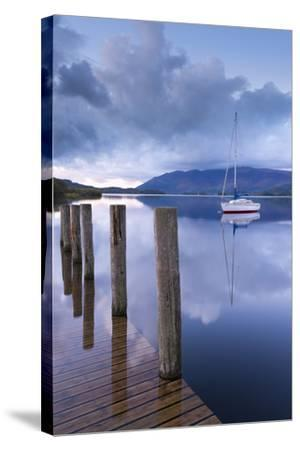 Yacht Moored Near Lodore Boat Launch on Derwent Water, Lake District, Cumbria-Adam Burton-Stretched Canvas Print