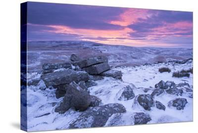 Beautiful Sunrise over a Frozen and Snow Covered Belstone Tor, Dartmoor National Park, Devon-Adam Burton-Stretched Canvas Print