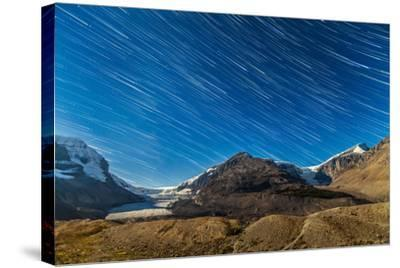 Star Trails over Columbia Icefields-Stocktrek Images-Stretched Canvas Print