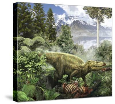 Alioramus Feediing on the Carcass of a Dead Animal-Stocktrek Images-Stretched Canvas Print