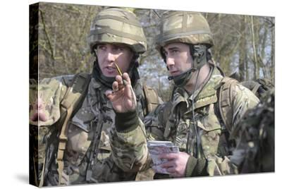 British Armed Forces Fire Control Group Planning a Firing Plan-Stocktrek Images-Stretched Canvas Print