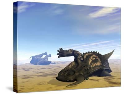 Two Einiosaurus Dinosaurs Dead in the Desert Because of Lack of Water-Stocktrek Images-Stretched Canvas Print