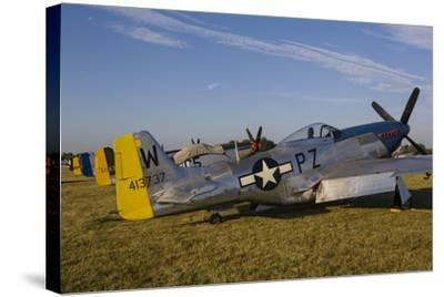 A P-51 Mustang Parked at Eaa Airventure, Oshkosh, Wisconsin-Stocktrek Images-Stretched Canvas Print