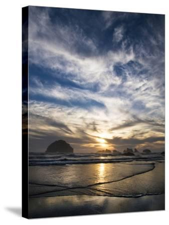 USA, Oregon, Bandon Beach. Face Rock and Sea Stacks at Twilight-Jaynes Gallery-Stretched Canvas Print