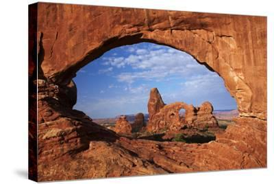 Utah, Arches National Park, Turret Arch Seen Through North Window-David Wall-Stretched Canvas Print