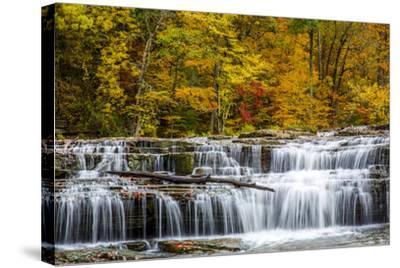 Upper Cataract Falls on Mill Creek in Autumn at Lieber Sra, Indiana-Chuck Haney-Stretched Canvas Print