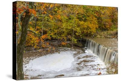 Anderson Falls on Fall Fork of Clifty Creek in Autumn, Indiana-Chuck Haney-Stretched Canvas Print