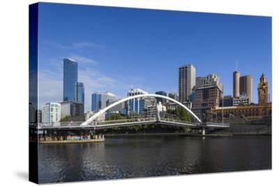 Australia, Victoria, Melbourne, Skyline from Yarra River-Walter Bibikow-Stretched Canvas Print